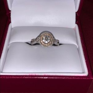 Diamond Cluster Double Halo Ring Silver & 10K Rose